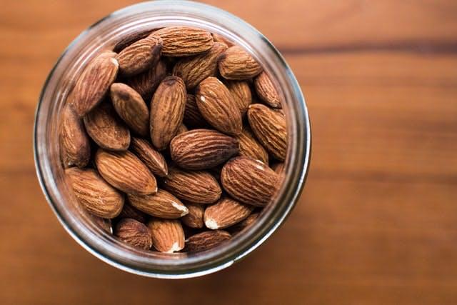 a jar of almonds