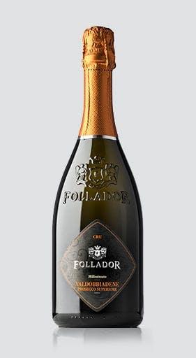 bottle of Follador prosecco
