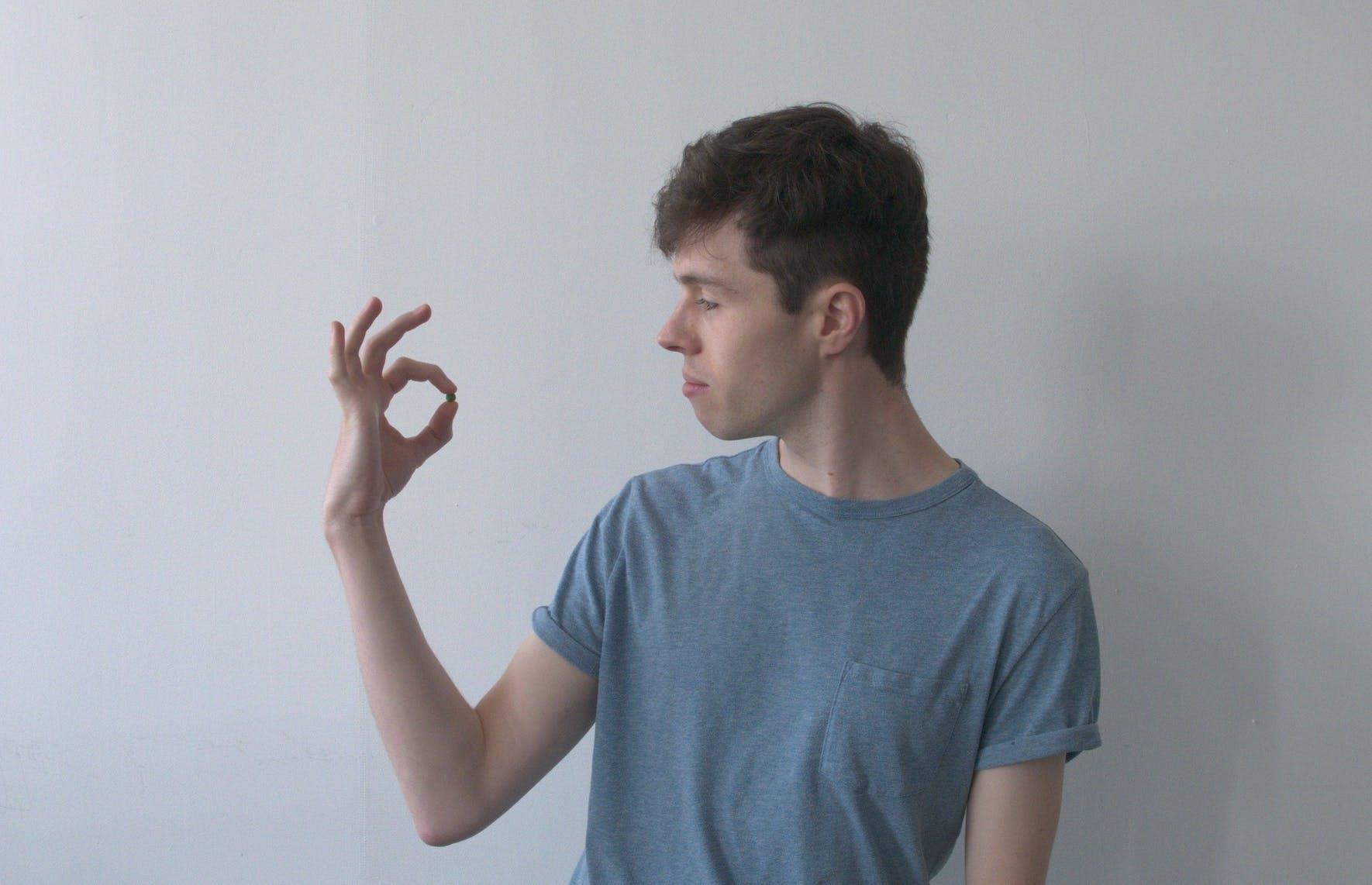 Matt holding a pea