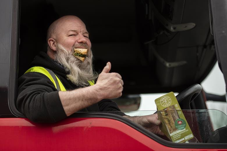haulier enjoys vegan sandwich