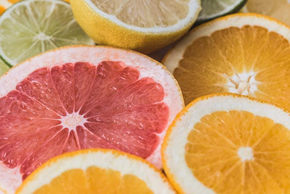citrus slices up close