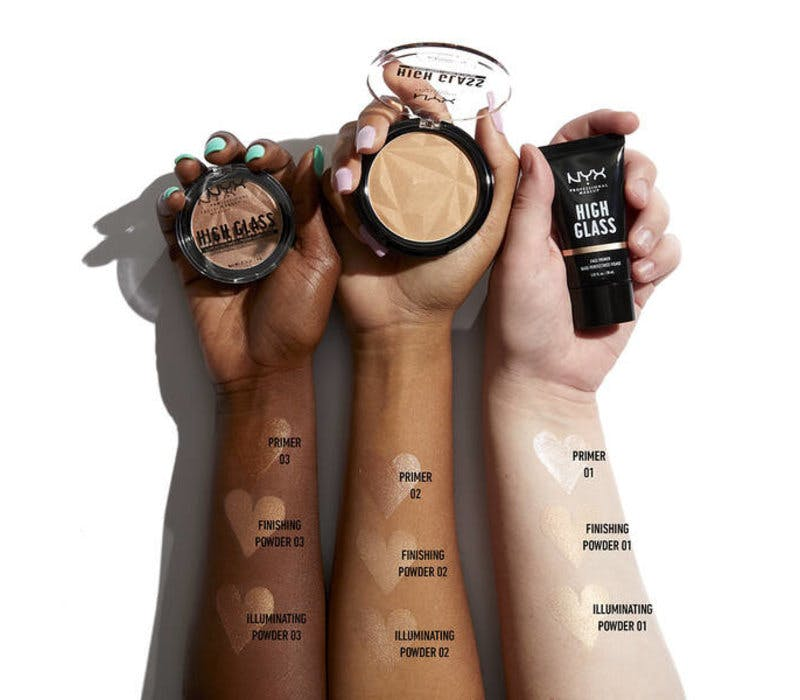 NYX High Glass powder swatches on three different arms