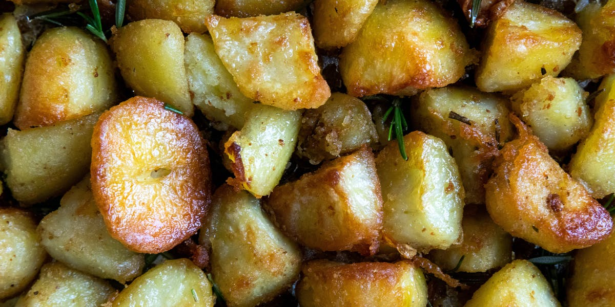roast potatoes close up