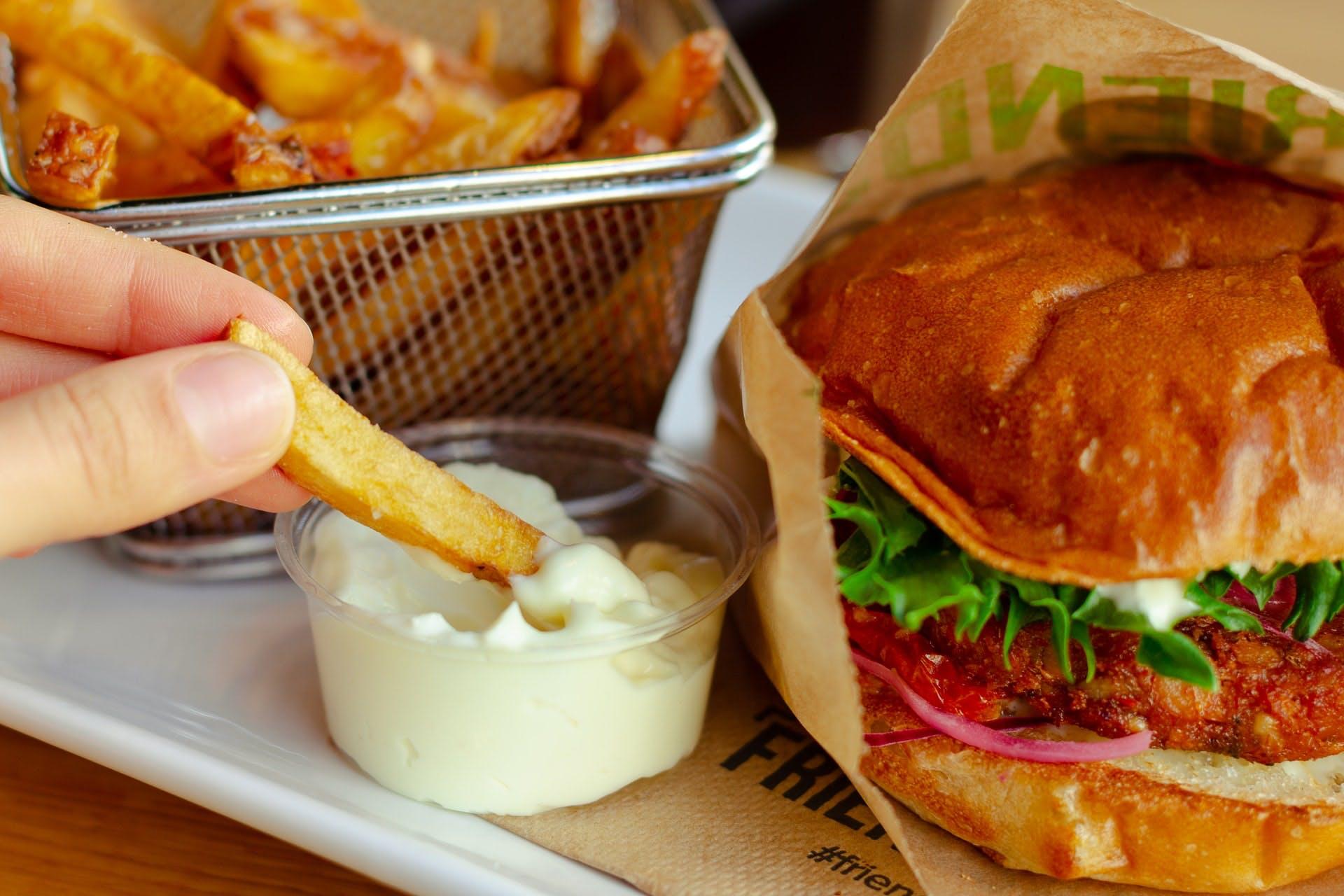 vegan burger and chips