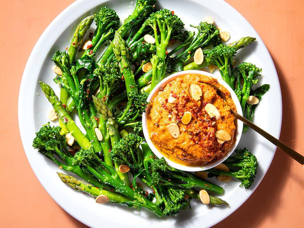 romesco suace and broccoli