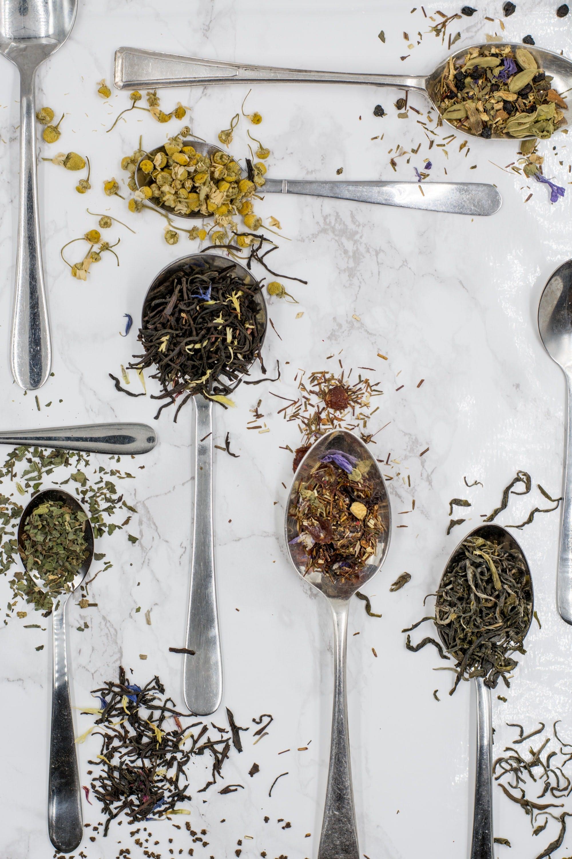 tea leaves on spoons