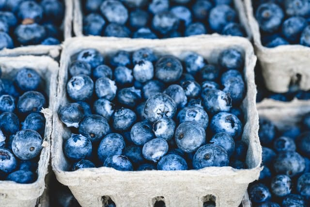punnets of blueberries