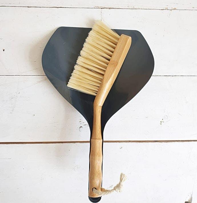 bamboo dustpan and brush