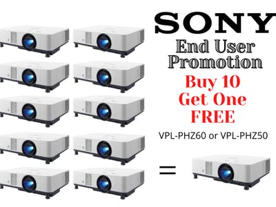 END USER PROMOTION!  Buy 10 Get 1 Free Sony Projectors