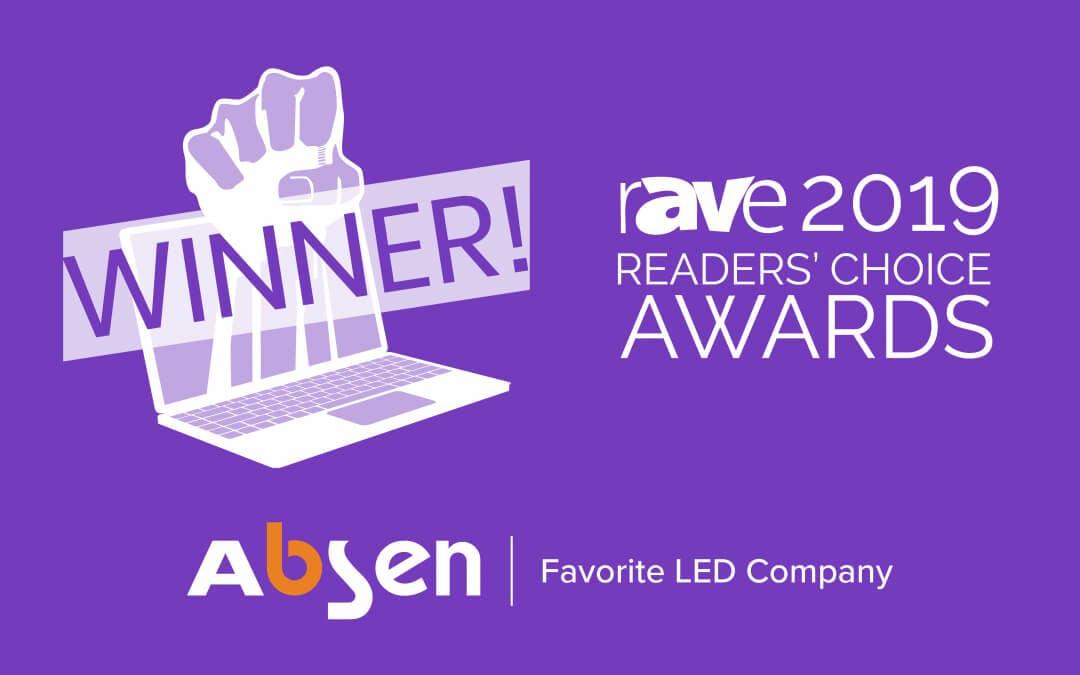 Absen wins rAVe award 2019 - Favorite LED Company