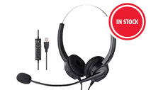 VDO360- VDOUHS - USB & 3.5mm Headset w/Noise Cancelling Mic,Inline Vol & Mute, Dual-Muff