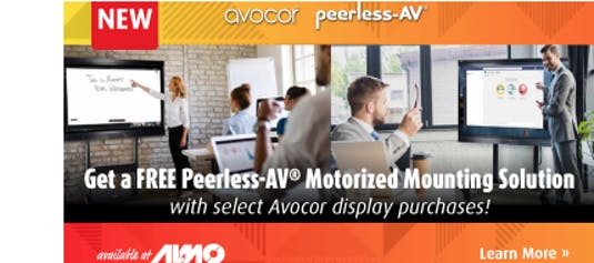Get a FREE Peerless-AV® Motorized Mounting Solution with select Avocor display purchases!