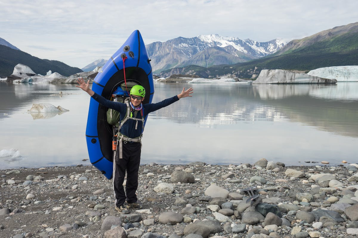 The Nizina Lake at the toe of glacier is broken into two sections, divided by ice that demands a 1 mile portage of an abandoned meander. We thought we were done carrying these packs, but alas, no.  This photo represents the moment when the Alpacka started carrying the weight for good.