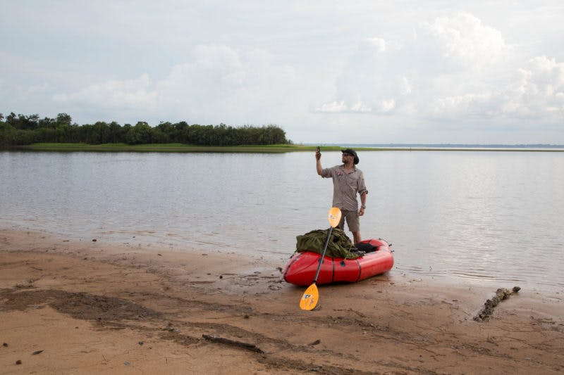 """Of using the raft on his trip, Clot explains: """"The notion of effort is not to be underestimated under temperatures regularly reaching 40°C with 100% humidity (i.e it feels to the body like nearly 75°C according to the Humidex rate). Every move increases corporal physiology exhaustion, so using the raft is both a way to go faster and a means to feel more secure. Especially when alone and totally isolated."""""""