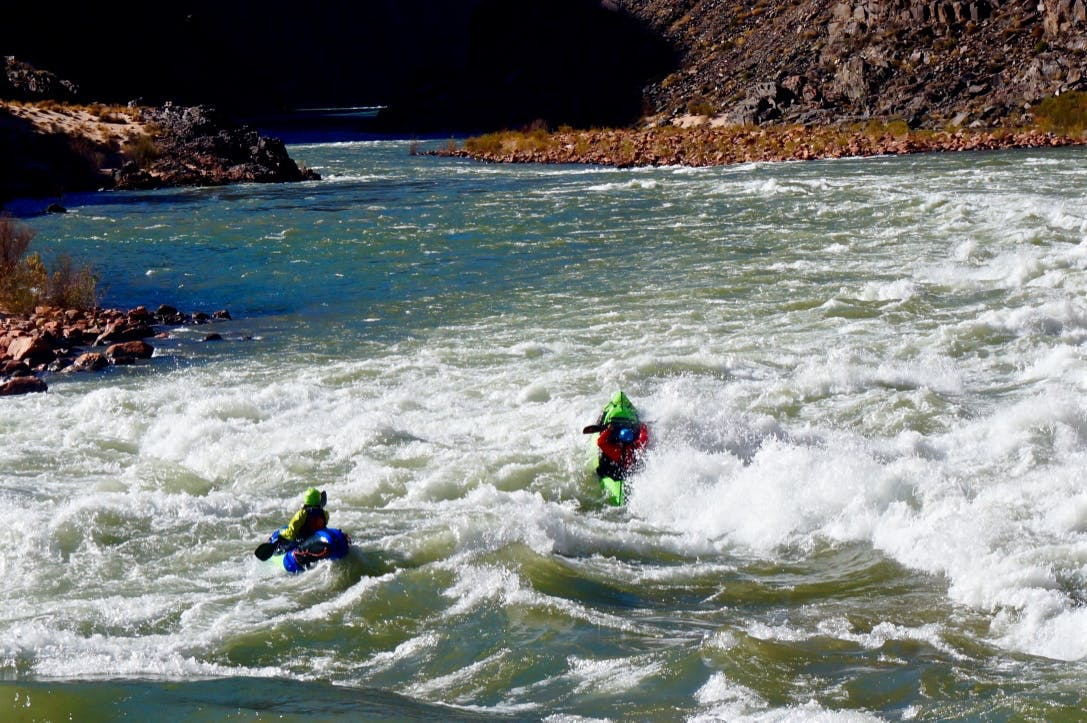 Paddling the big water of the Grand Canyon.