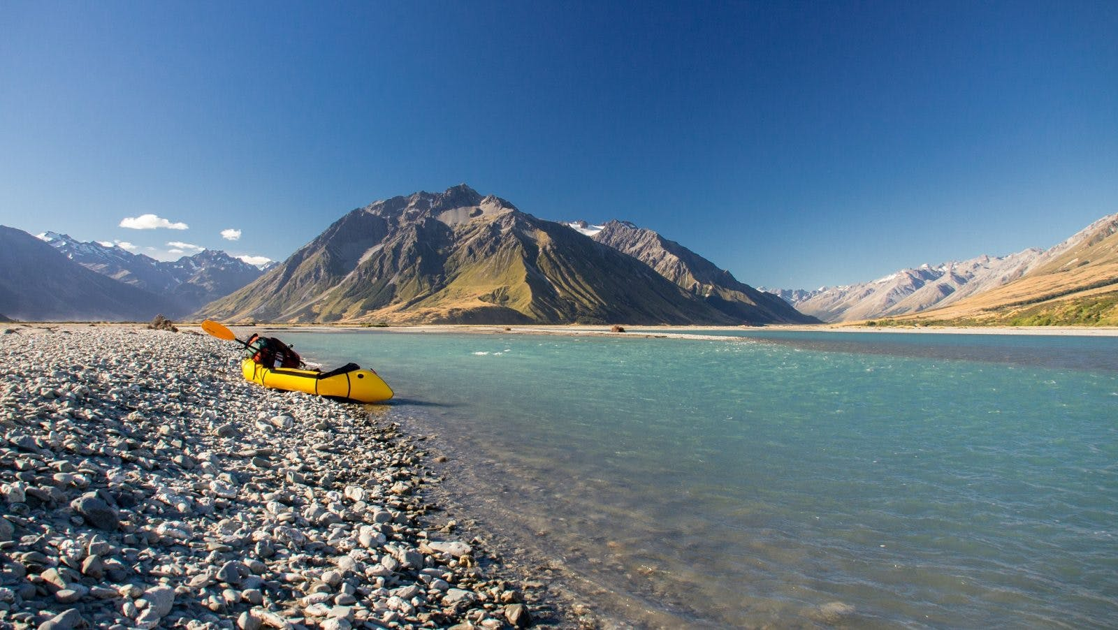 Taking out near the Dobson-Harper river confluence after a perfect day crossing the mountains from Lake Pukaki and paddling down the Dobson; NZ South Island Traverse