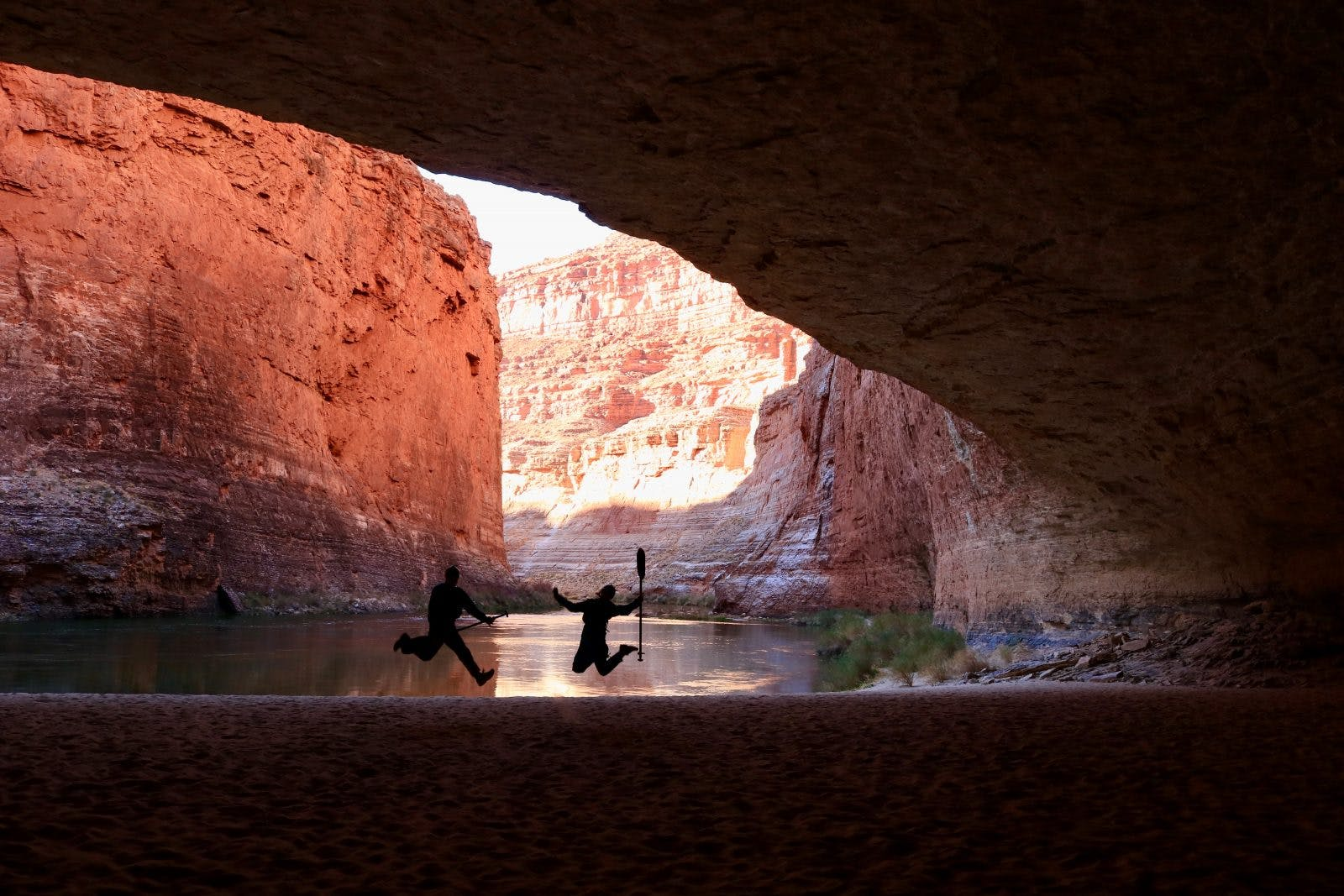 Exploring Redwall Cavern at river mile 33.3 on day two.