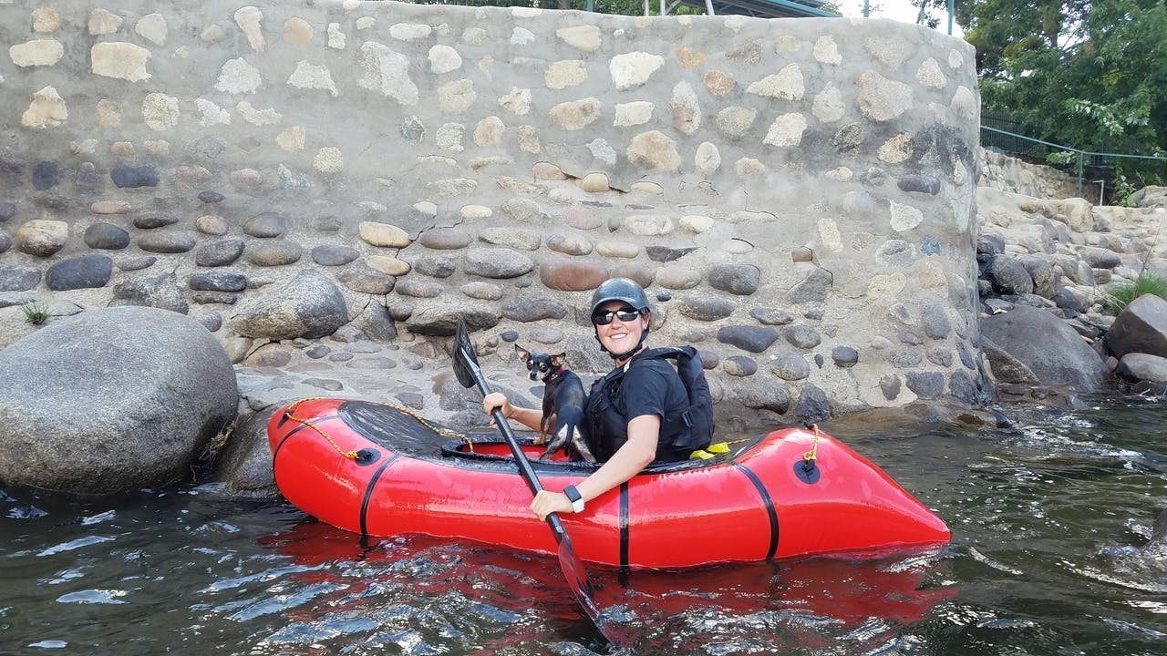 """""""Alpackahuahua: Chili, the packrafting Chihuahua, catching some whitewater on the Powerhouse section of the Kern River, California."""""""