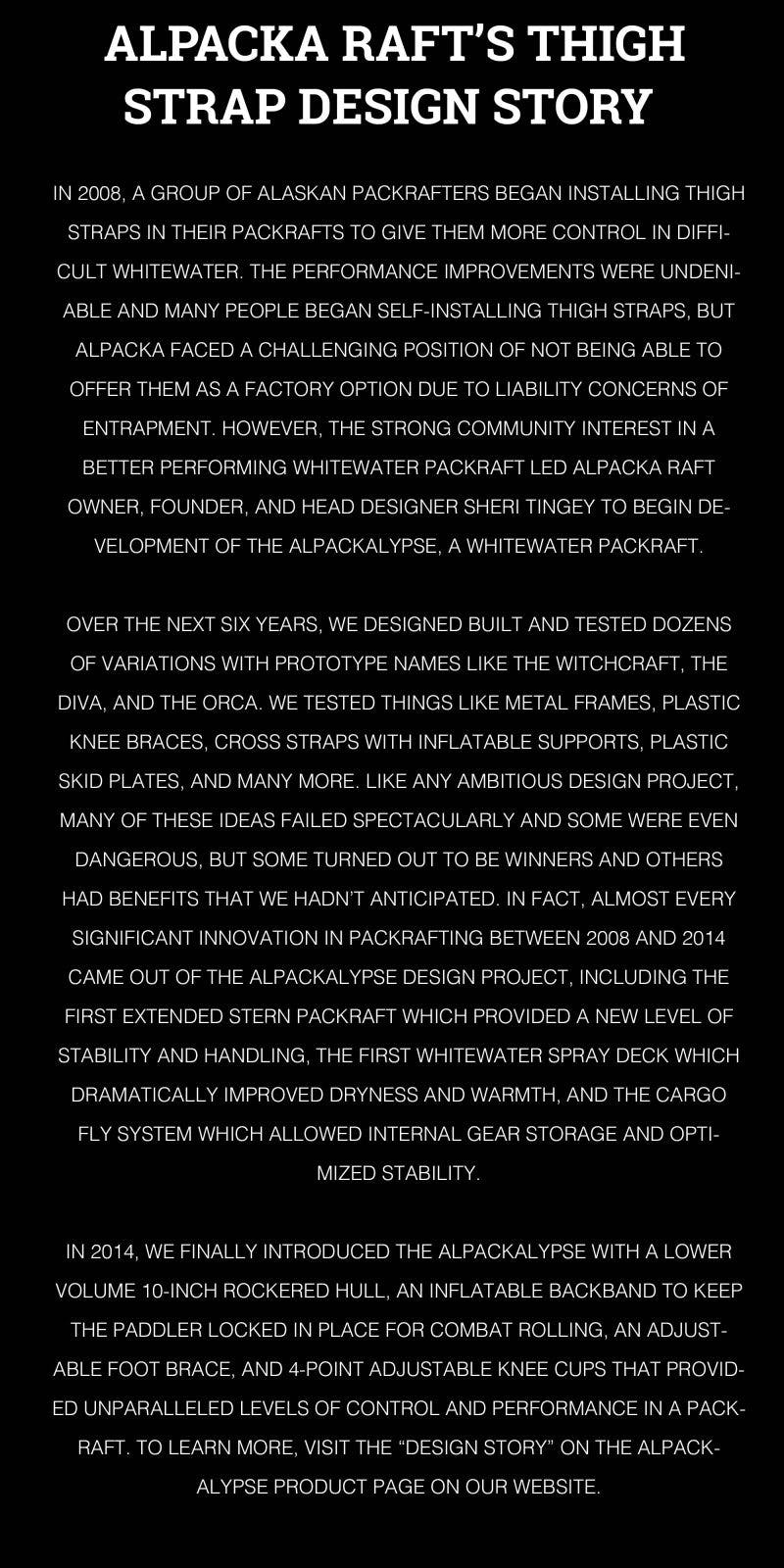 Alpacka Raft's thigh strap design story.