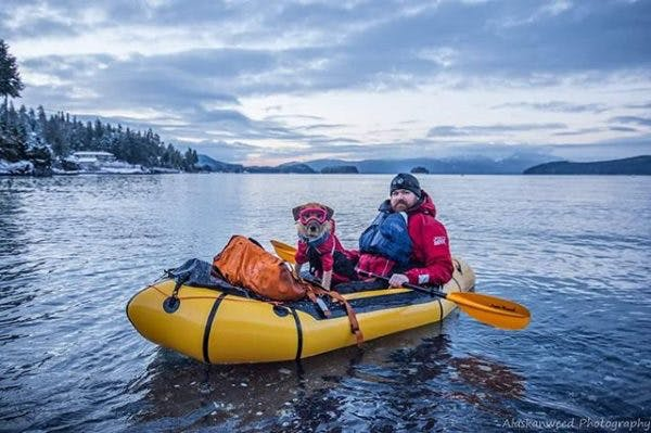 """Runner up: """"A little winter packrafting? Dang it's cold. Good thing the ocean was not ruff,"""" by @a_dog_named_kat"""