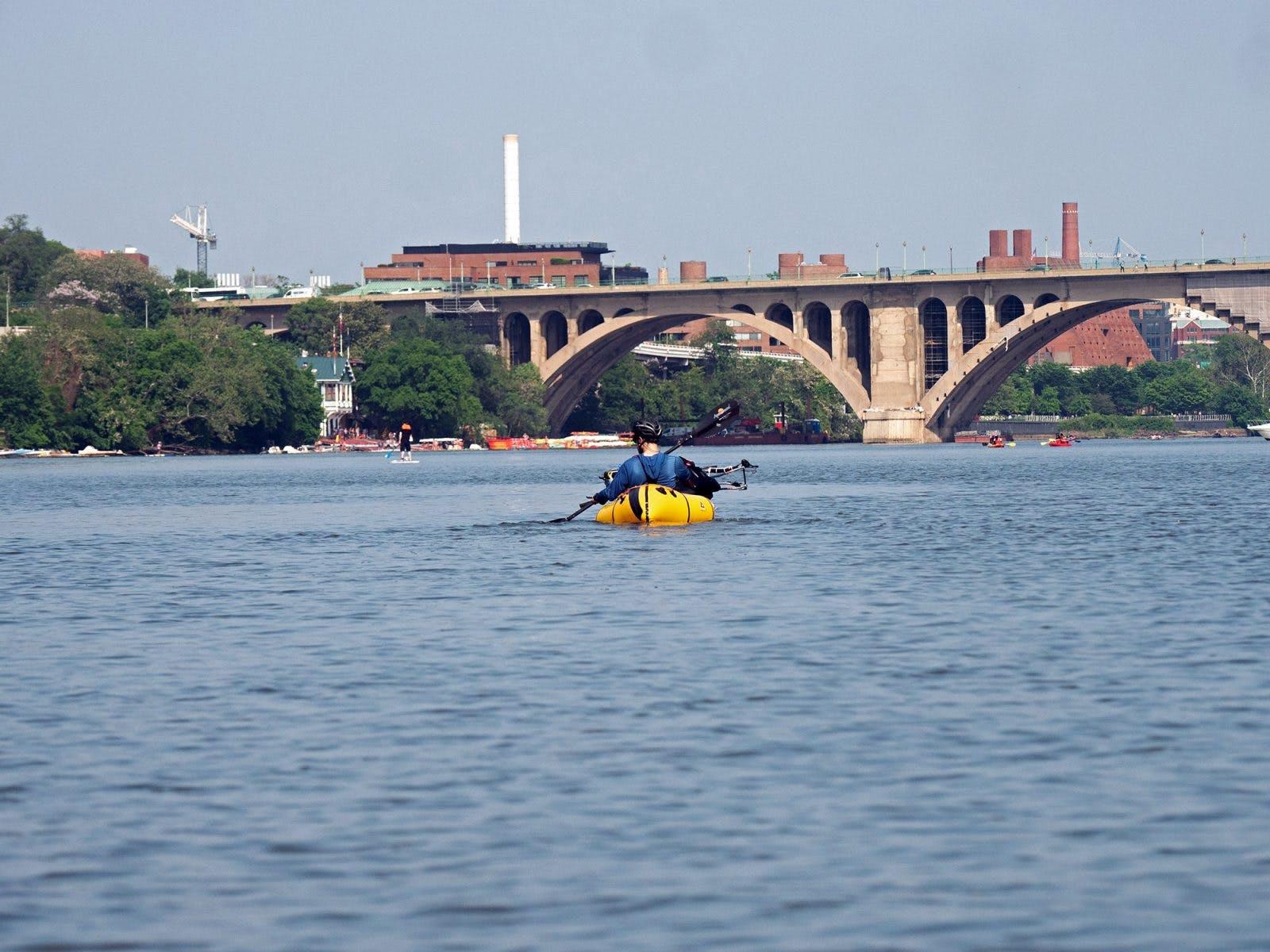 Day one, the guys paddled under Key Bridge, Georgetown.