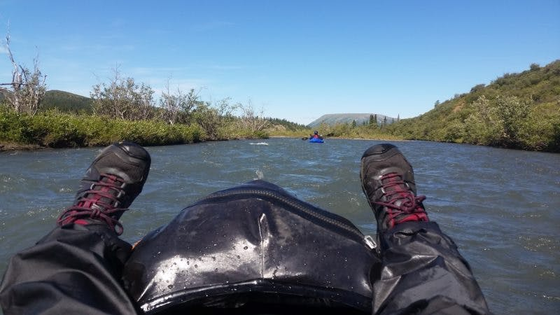 Wear a PFD, helmet, dry suit, and suitable footwear while on the river.