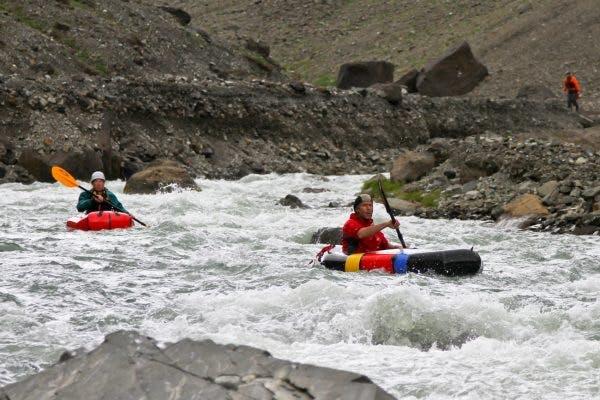 Roman Dial and Sarah Heck in The Gates of Aniakchak River, Alaska.