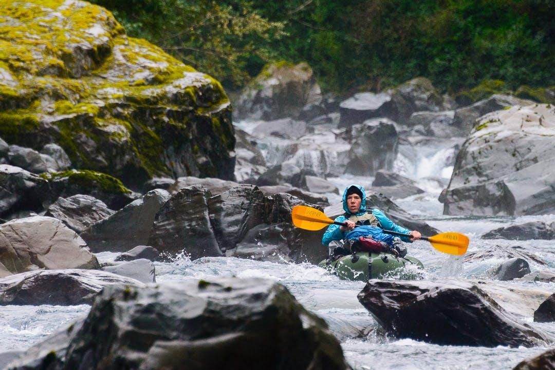 Emma Johnson in the crux rapid below the ¼ mile portage around class V Kilkenny Creek rapid.