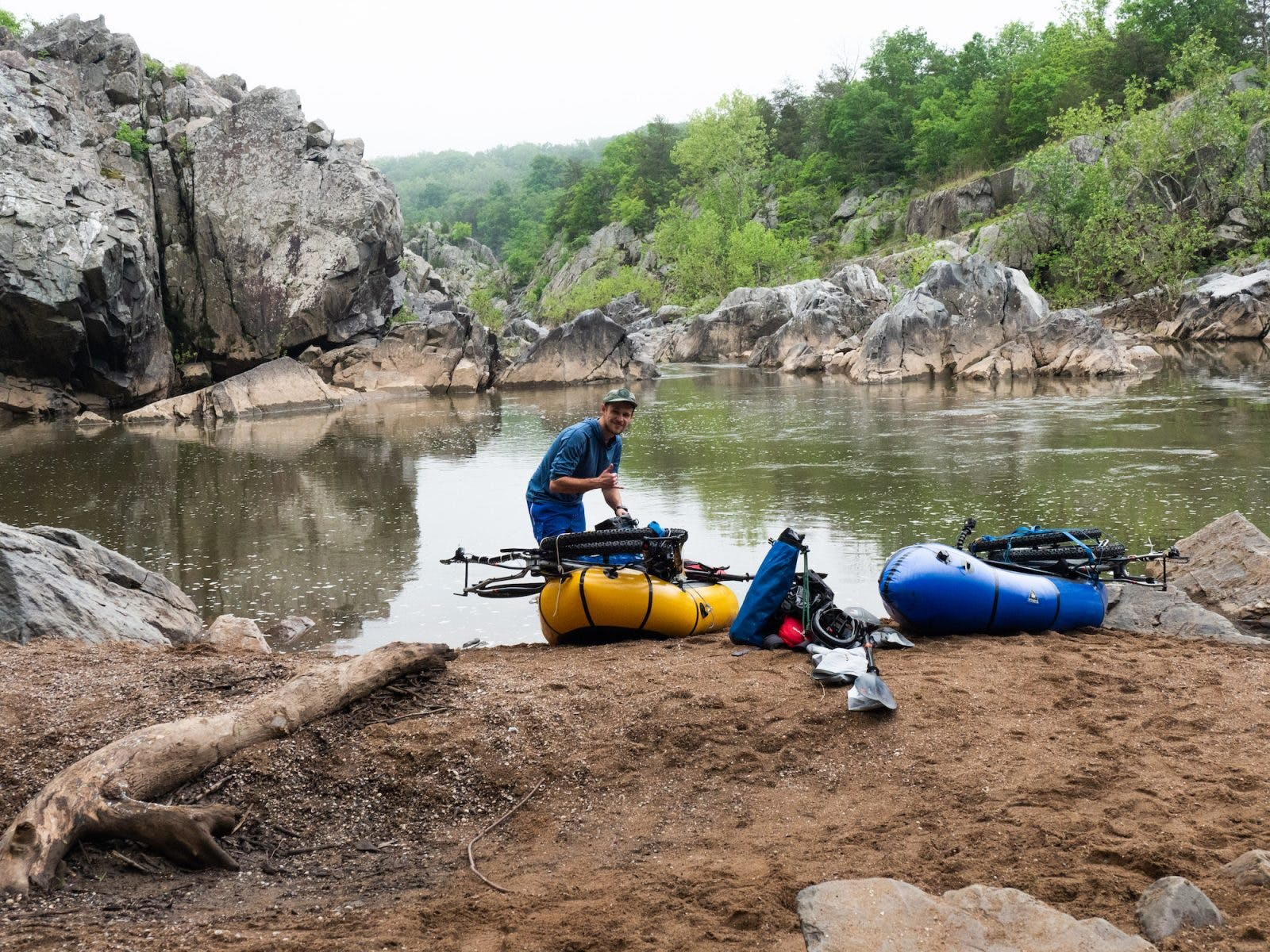 Urban packrafting doesn't always mean exploring cityscapes. You can find natural gems everywhere. Here, Horton and Steven's stopped at Sandy Beach just Below Great Falls, Potomac Maryland.