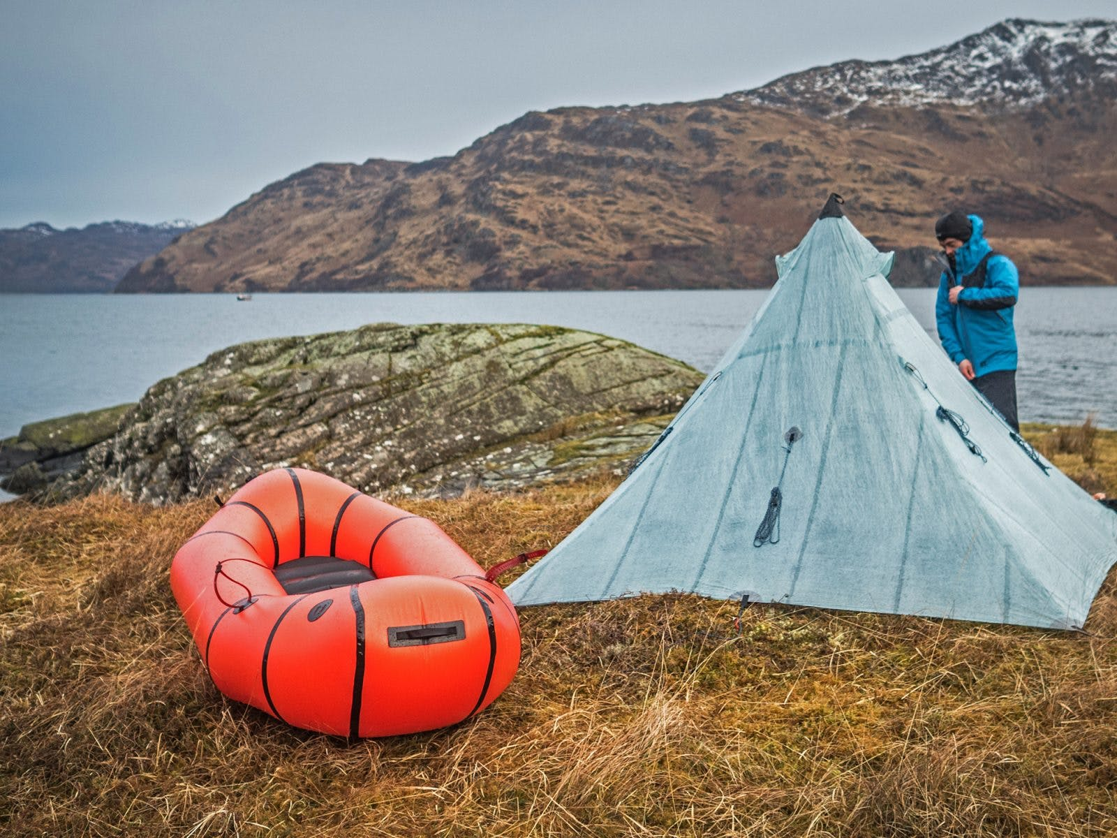 Huw Oliver at camp while on a bikerafting trip. Photo: Annie Lloyd-Evans.