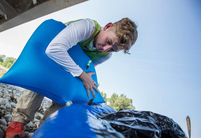 Youngest AR World Champ racer Hunter Leininger blows up his Alpacka Raft.