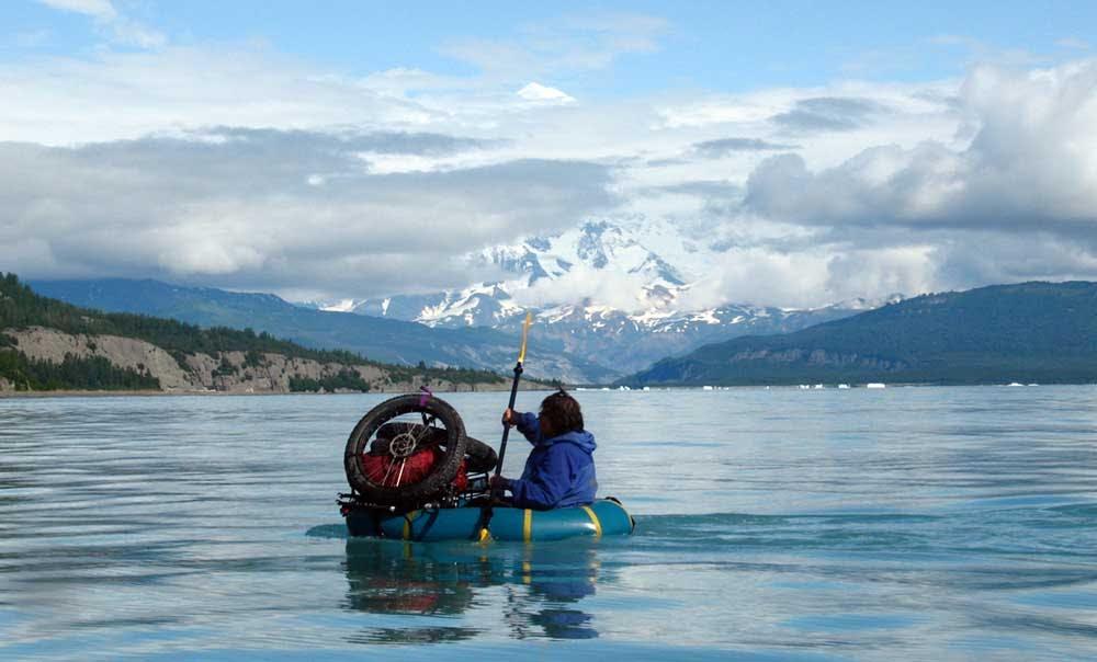 Dylan Kentch paddling Icy Bay, Alaska, 2008. Photo by Eric Parsons.