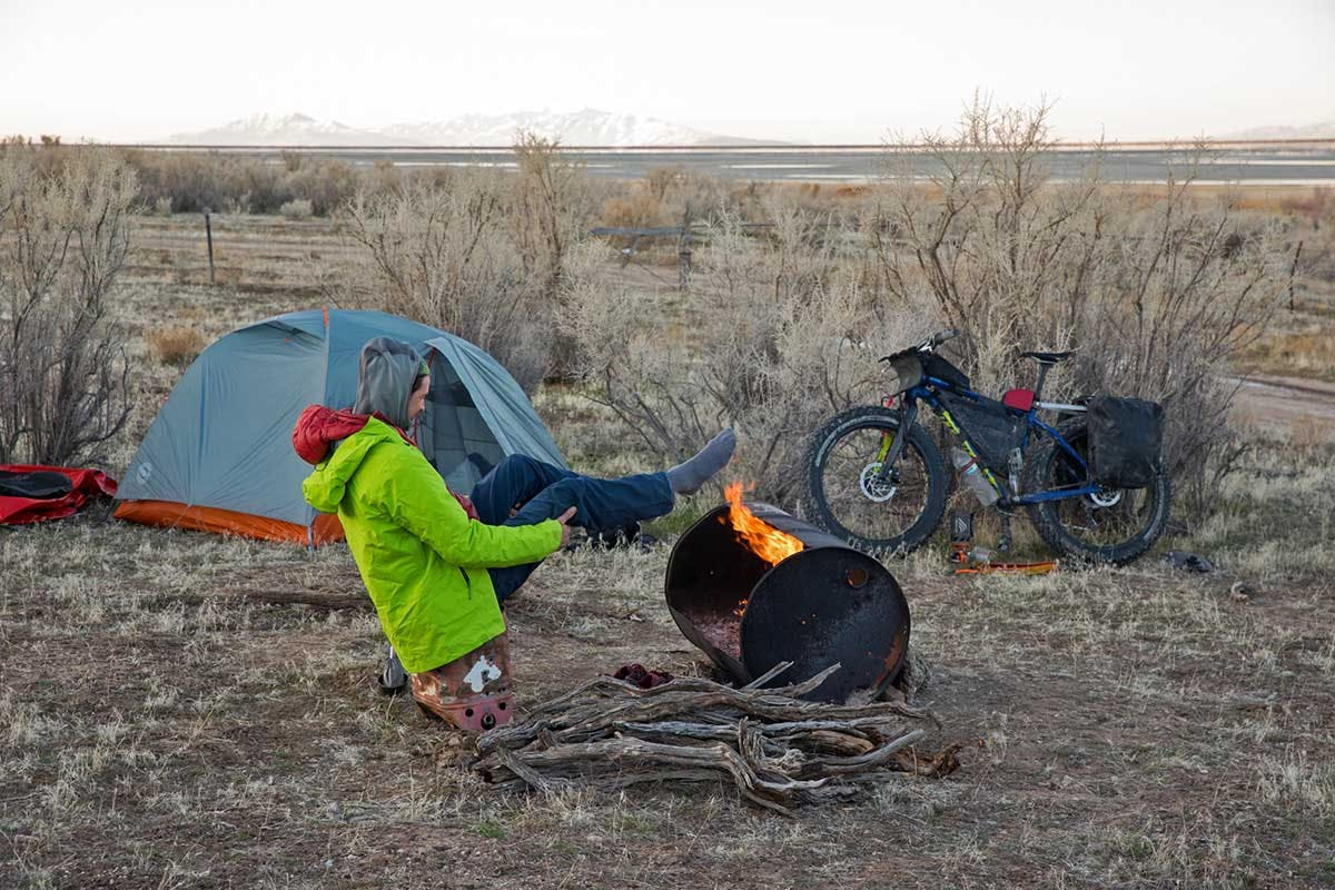 Taking a break after a cold morning ride on the Great Salt Lake. Photo by Andrew Burr.