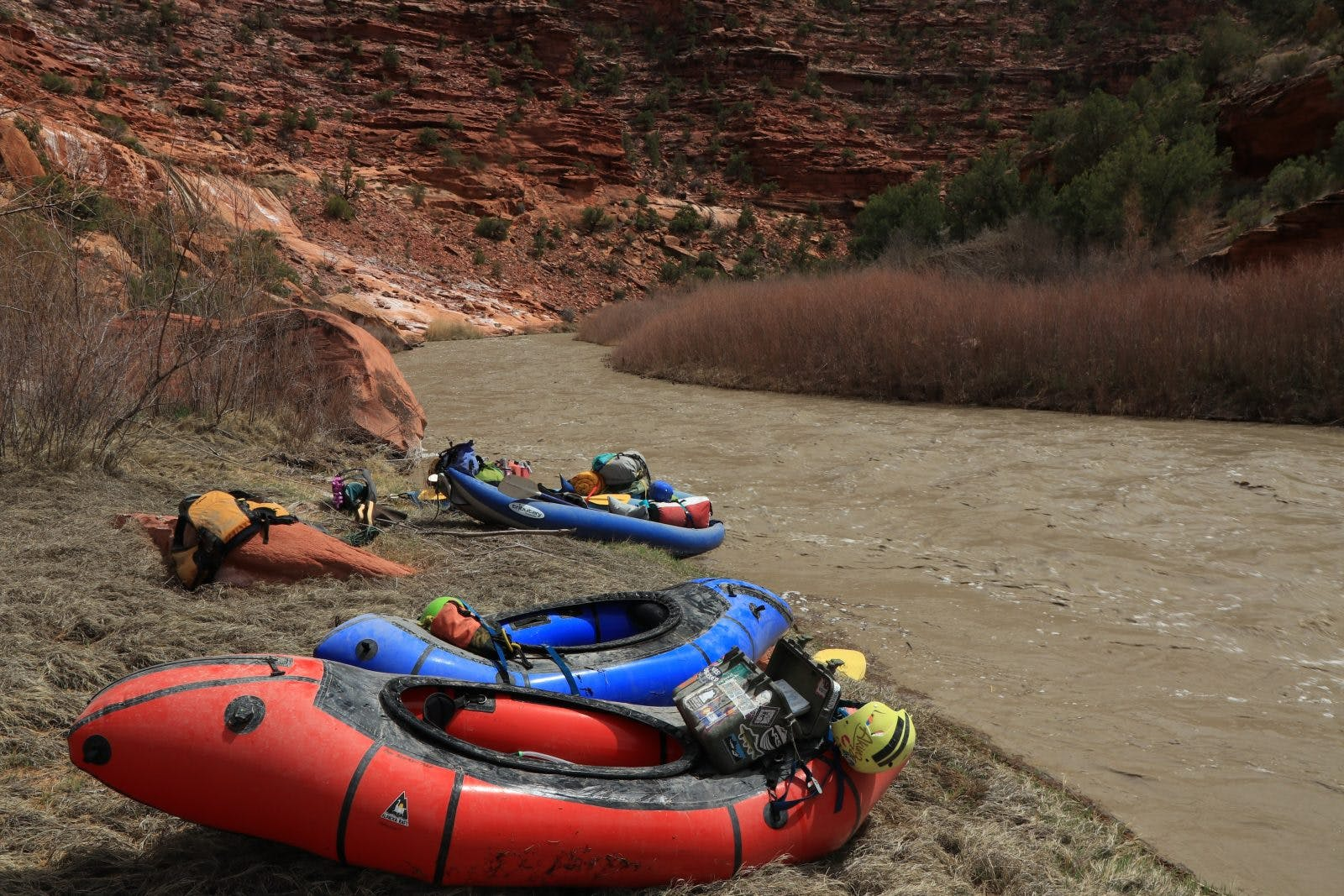 """""""The first weekend of April produced close to 400 cfs, more than enough water to take our fleet of packrafts into the canyon""""- Rica Fulton. Photo by Cody Perry"""
