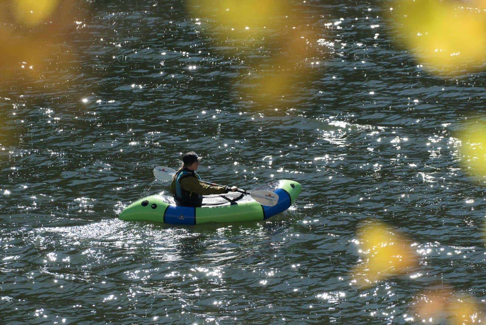 Molly Harrison practicing her paddling skills on McPhee Reservoir. Photo by Steve Fassbinder.