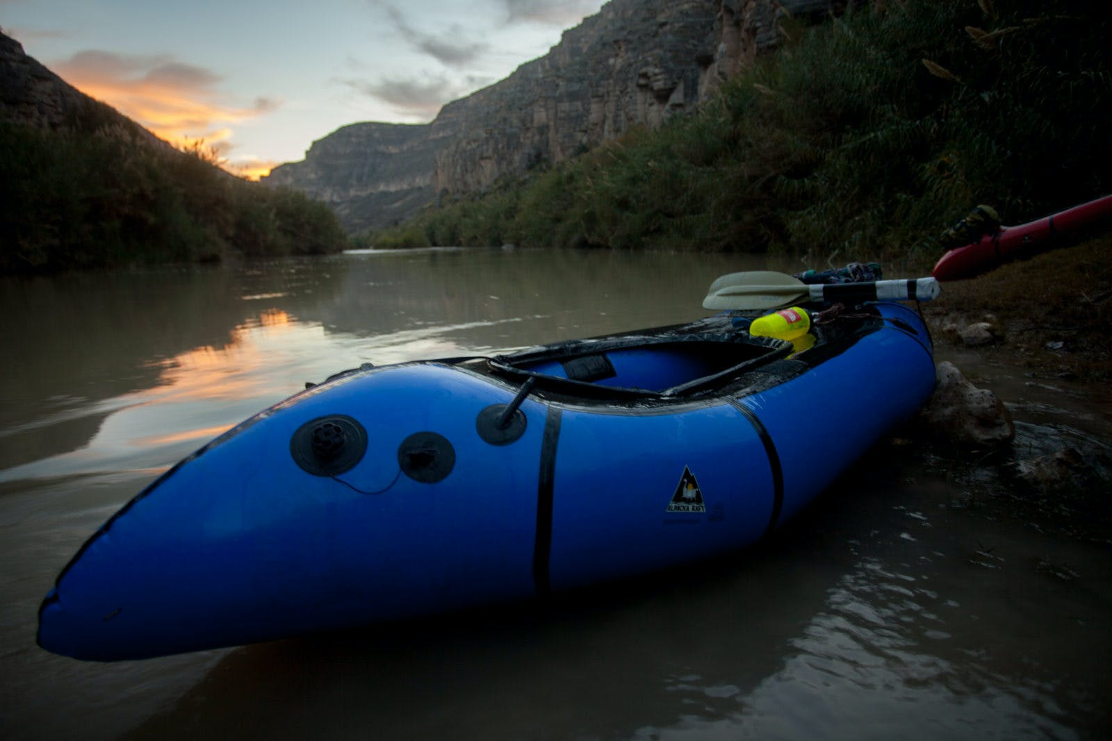 The end of day 7's paddling the Rio Grande - we hadn't been able to find a campsite due to the cane lining the river, so we'd been forced to keep going past sunset.