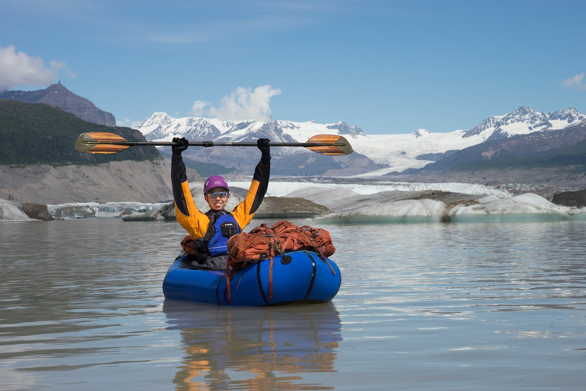 Paddling away from Chimney Mountain, the Nizina Glacier, and the Icefields of Wrangell-St. Elias NP.
