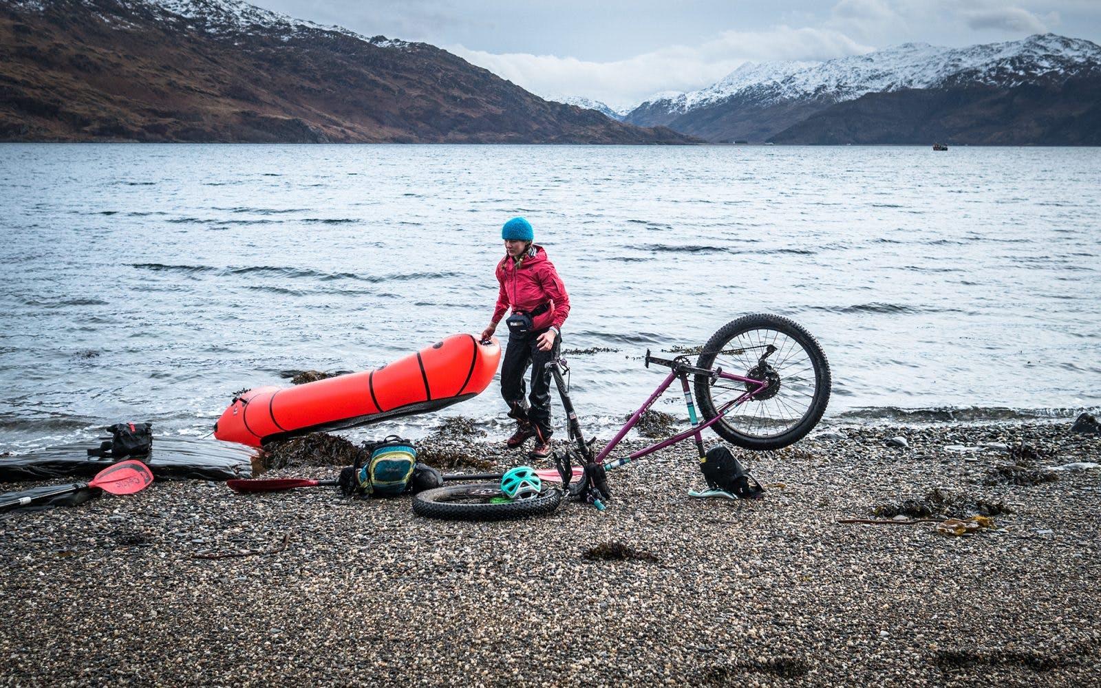 Annie Lloyd-Evans bikerafting across Scotland. Photo: Huw Oliver.