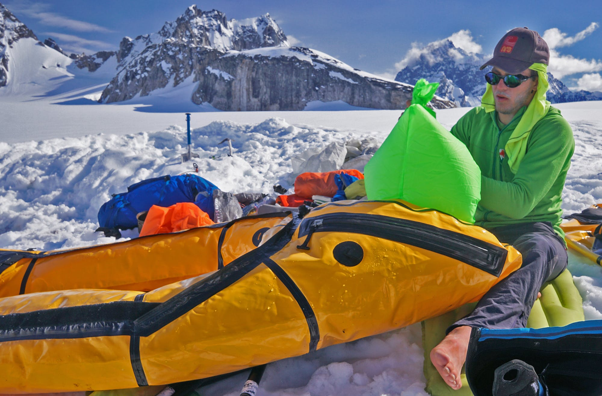 """""""After finishing threeweeks of climbing, we needed to get back to Cook Inlet to catch ourride out. However, wehad to make a major decision between two possible return routes."""