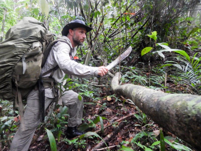 """In order to carry that much while finding his way through dense forest and irregular terrain, Clot had to ferry gear through the woods, first cutting his way with little gear and then carrying the rest of the gear on the second trip. Of the gear, he says: """"An inevitably slow progression rarely exceeding 5 kilometers (3 miles) a day, during which every move was carefully calculated to avoid frightening an animal or landing feet or hands in the wrong place."""""""