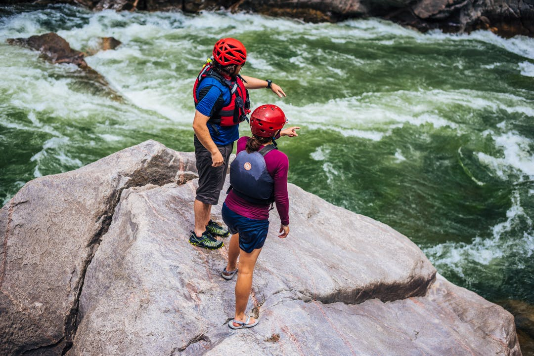 Evan Kay and Ashley Tucker scouting possibilities in the Gunnison Gorge. Photo by Jeremiah Watt
