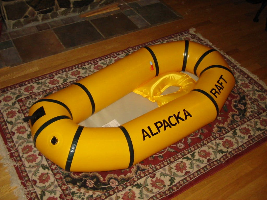 An early (2002) version of an Alpacka Raft. Photo and raft by Sheri Tingey.