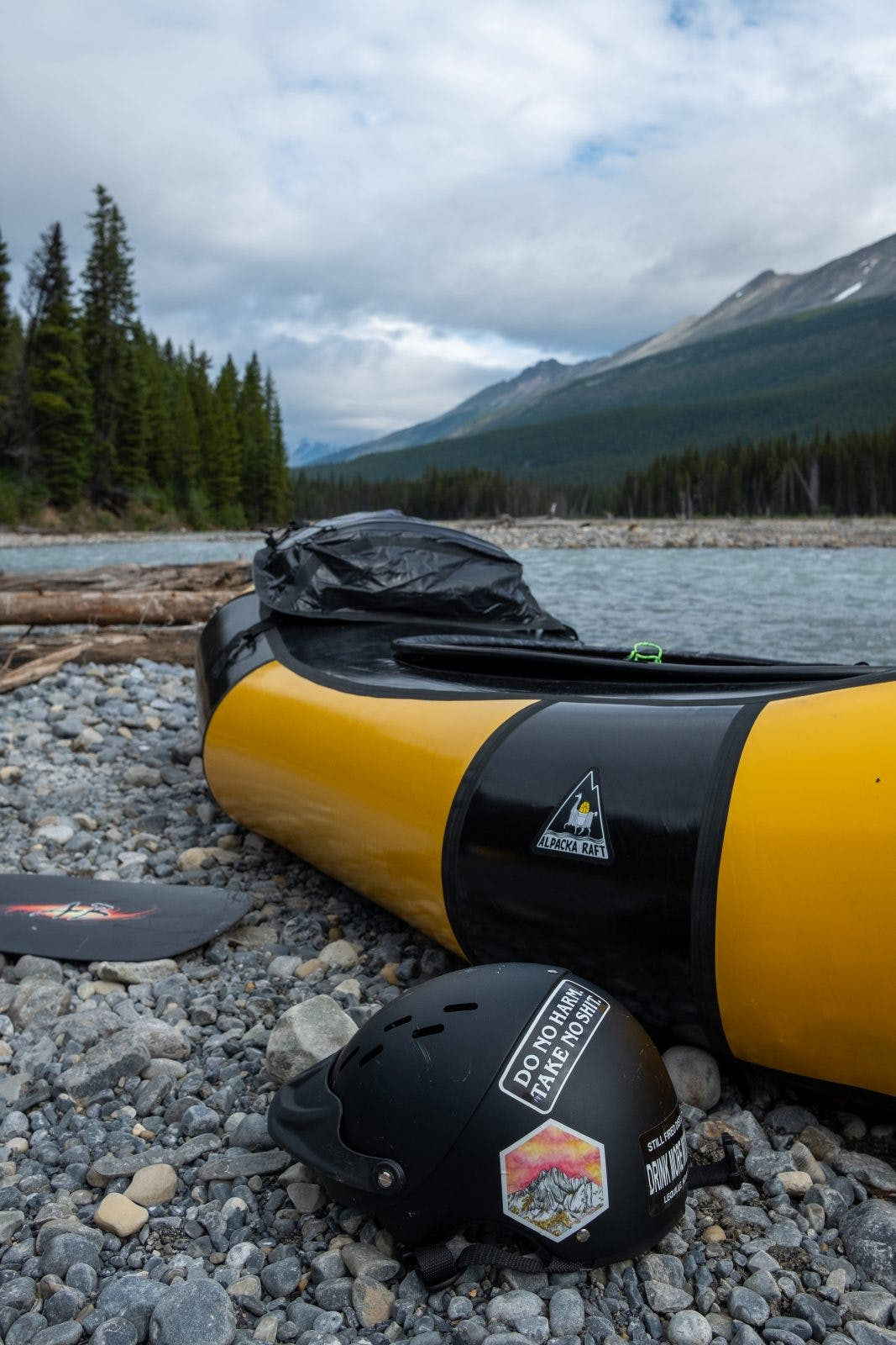 Coburn's 'bumblebee' Narwhal, ready to get on the river. Photo by Coburn Brown