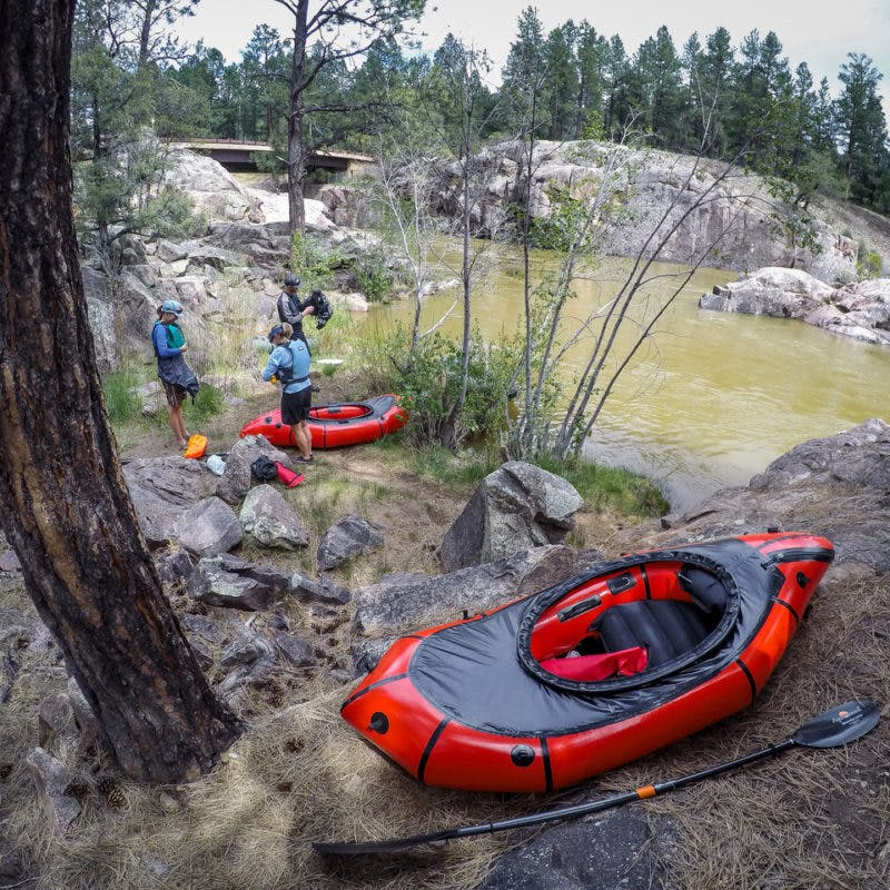 Photo of boat and people getting ready - Inaugural voyage in our new boats. Bakers Bridge, Animas river