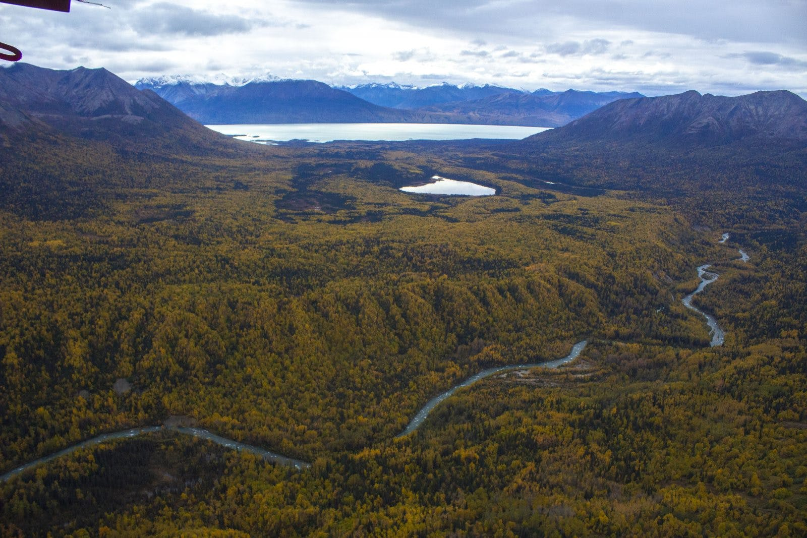 Packrafting potential near Lake Clark, as seen by bush plane. Photo by: Sam Carter