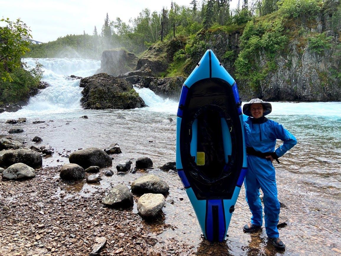 Breaking in the new packraft below Tanalian Falls. Photo by: Paul Gabriel