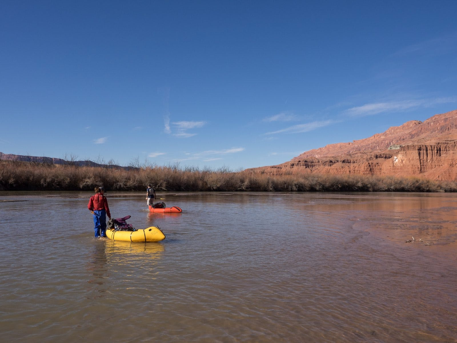 The first steps to find some current on the Colorado River.