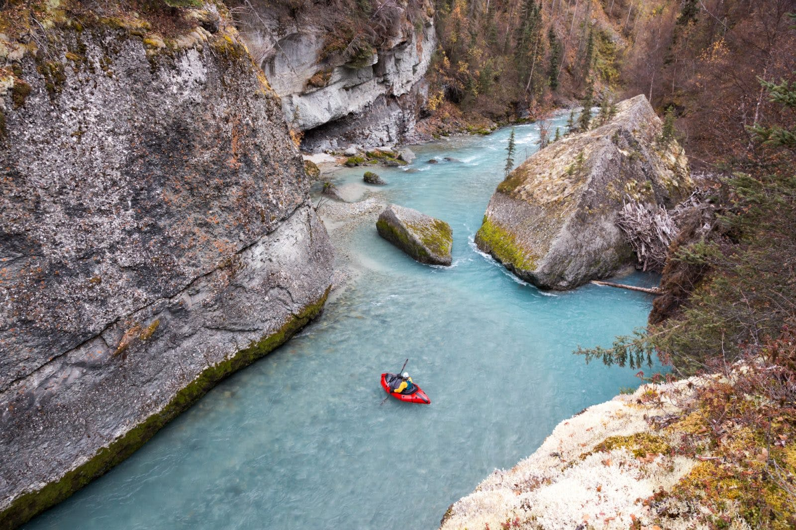 Sarah packrafting on the Chickaloon. Photo by Luc Mehl.