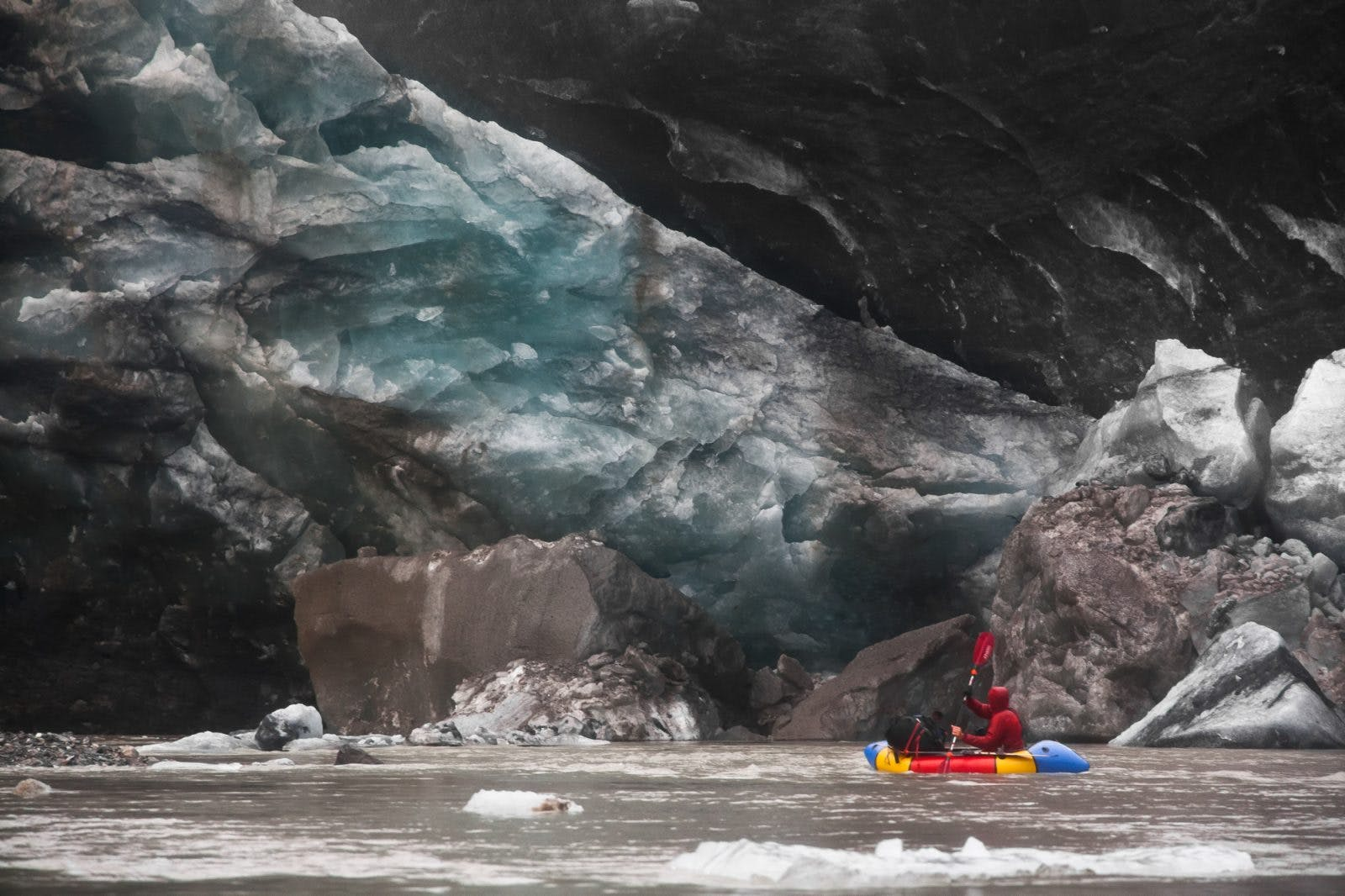 Luc Mehl paddling in the ice. Photo by Graham Kraft.