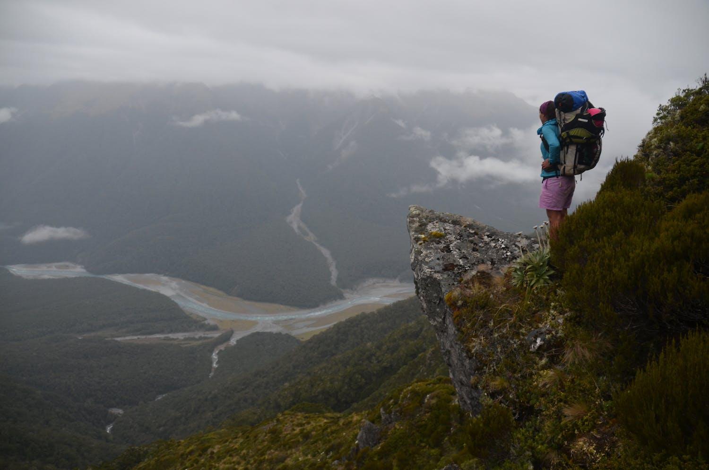 On a trek through New Zealand.